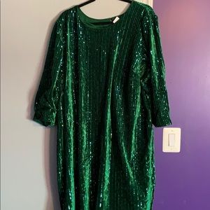 Green with beaded dress NWT